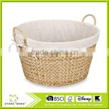 Round Banana Leaf Laundry Basket In Brown