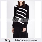 Wholesale Women Front-exposed button Asymmetric Neck Long Sleeves Waffle Knit Striped Cashmere and Cotton Jumper(DQE0182T)