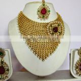 GOLD plated Maroon red polki pearl Bollywood necklace EARRING Bridal WEDDING Set