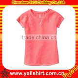 Custom fashion breathable short sleeve solid color blank cotton sweet baby girls fancy t shirt