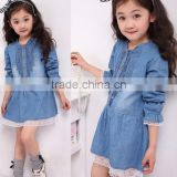 Fashion Kids Denim Blue Flower Lace Single-breasted Long Sleeve Girls Formal Dresses 20009