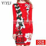 Women Christmas Sweater Ugly Cowl Neck Cute Reindeer Xmas Sweater Dress