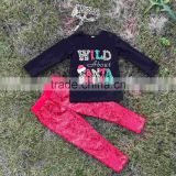 baby clothes girls cute WILD ABOUT SANTA black outfits kids red Sequins pant sets kids long sleeve sets with Leopard headband