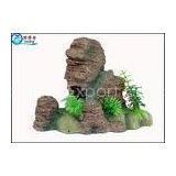 Non-toxic Poly Resin Artificial Mountain Aquarium Resin Ornaments With Simulation Plants