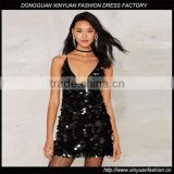 Women V Neck Sleeveless Full Sequins Halter Bodycon Party Mini dress Girls Sexy Hot Clubwear