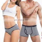 Couple Cotton Sexy Underwear Blue Stripe Men's Boxer Shorts Women's Briefs Lovely Sweet Underpants