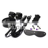 Sex Adult Bondage Toy Set 7pc Bondage love Kit Blindfold, Collar, Wrist restraints, Ball gag, Whip, Nipple clamps& Cotton Rope
