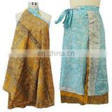 Indian Vintage Silk Sari Reversible double layered and wrap-skirt Magic Around skirts dress beach wear Patchwork Wraparound