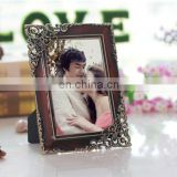 opposite angles embossed classic pattern luxury wedding dress photo frames metal simple photo frame