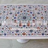 Recangular Shape White Marble Inlay Dining Table Top