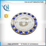 High quality crystal ballmark with magnetic with stone Golf ballmark crystal ballmark