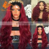 8A grade human hair wig full lace wig 180%density body wave hair 1BT99J Ombre red hair wig