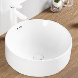 Good sale ceramic no hole round shape washhand white tabletop wash basin sink