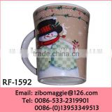 Wholesale Not Double Wall Porcelain Custom Shape Promotion Drinking Mug with Christmas Print