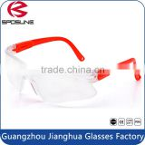 Economical shatterproof onion cutting safety glasses clear lens red temple woodworking metalcutting indoor or outdoor working