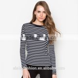 China Apparel Wholesale women Clothing stripe High Quality Longline Tall women's Cotton t shirts TS108