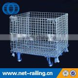 Industrial stackable mesh wire container with wheels