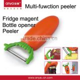D472 The Latest Style 3 In 1 Kitchen Fridge Magnet Multl-function Peeler Stainless Steel Peeler , Bottle Opener , Dig Out Bud