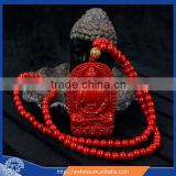 Charm cinnabar carved buddha pendant bead necklace wholesale