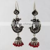 Bring The Heat ! Oxidized Jhumka Ruby 925 Sterling Silver Earring, Gemstone Silver Jewellery, Handmade Silver Jewellery
