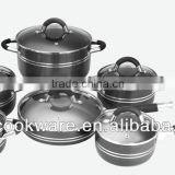 2015 New Products 12PCS German Technique 2.5mm Hard Anodized Aluminium Cookware Set Hollow Handle With Silicon For Wholesale