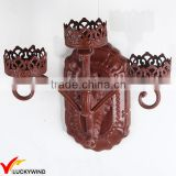 3 Branch Red Painted Metal Tealight Decorative Candle Wall Sconces