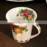Fashion hot sale red rose colour bone china cup of tea with flower design