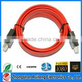 Flat HDMI Cable 1.4 or V2.0 with ethernet 0.8m 1m 1.5m 2m 3m 5m 8m10m15m 20m HD1440P 4K 3D function                                                                         Quality Choice