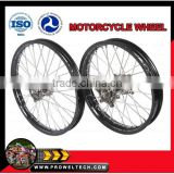 "Motorcycle wheels:CRF 125/250/450 motorcycle complete wheel sets:Black hubs with black rims 1.60-21"" and 1.85-19"""