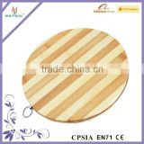 Zebra Stripes Round Cutting Board,Round Bamboo Cutting Board With Ring,Bamboo Round Chopping Board