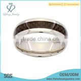 Coffee carbon fiber inlay with silver polished edges titanium ring, wholesale titanium jewelry design