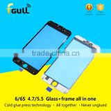 Best quality Glass with frame assembly for iphone 6 plus broken front glass lens replace cold glue