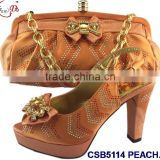 CSB5114Roral blue hot selling fancy quality shoes &bags for ladies with low heel multi color shoes/orange sandals wedding party