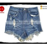 High Quality Fashion women Denim Jeans Pants Wholesale xintang factory destroyed distressed jeans Shorts
