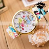 Wholesale 2015 New Arrival Colorful Shining Korea Fashion Lady Watch Alloy Luxury Rose Gold Box Flower Vogue Watch
