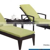 plastic sunbed in PE rattan and alu.frame with cushion and small coffee table