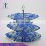 Wholesale decorative cake stand 3 tiers ceramic embossed 3 tiers cake stand wedding cake 3 tiers stand