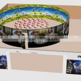 8D 360 cinema with 360 degrees screen (circular screen), 3D images and special effects (vibrate, wind, snow, rain, smell, bubble