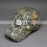 COTTON EMBROIDERY CAMO FABRIC BASEBALL CAPS