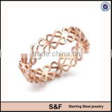 Hollow design IP Rose Gold Plating Class Ring