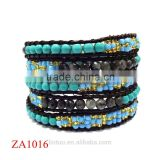 Fashion New Leather Wrap Bracelet Jewelry Turquoise Natural Stone Adjustable Wire Bangle Bracelet Wholesale