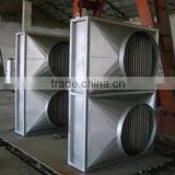 Finned tube heat pipe air heater exchanger with aluminum fins