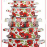 Customized Design Full Red Flower Decal Cookware Set Enamel Pot Set 5 Pcs Stew Pan Soup Stock Pot