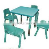 Baby wood furniture/height adjustable kid study table and 4 chairs set