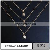 New designs 18K Gold Plated Synthetic diamond Clavicle Chain
