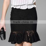 2016 Summer Elegant Sexy Lady See Through Midi Skirts High Waist Ruffle Slim Black Lace Women Skirt