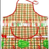 fruit /vegetable printing cotton and PVC composite fabric waist printed kitchen apron with pocket