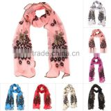 Hot New Women Lady Fashionable Silk Long Soft Peacock Scarf Wrap Shawl Stole