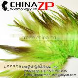 ZPDECOR Bulk Wholesale Cheap Directly Dyed Lime Green Strung Chinese Rooster Saddle Feathers