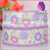25mm width flower pattern satin ribbon with lacework